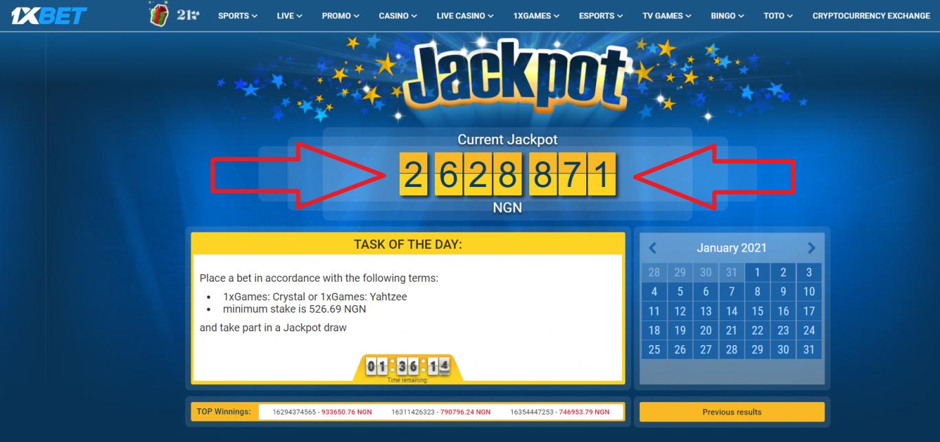 Is there a no deposit bonus in 1xBet jackpot bonus