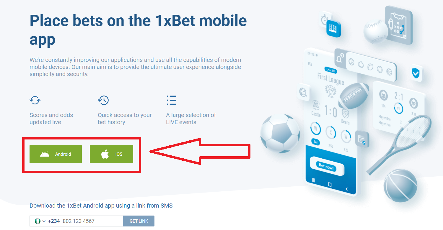 Application Features 1xBet mobile login