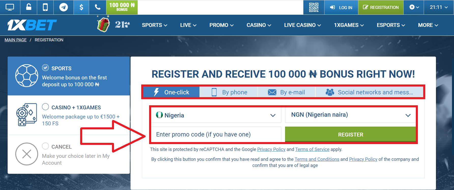 Rules of the 1xBet registration process