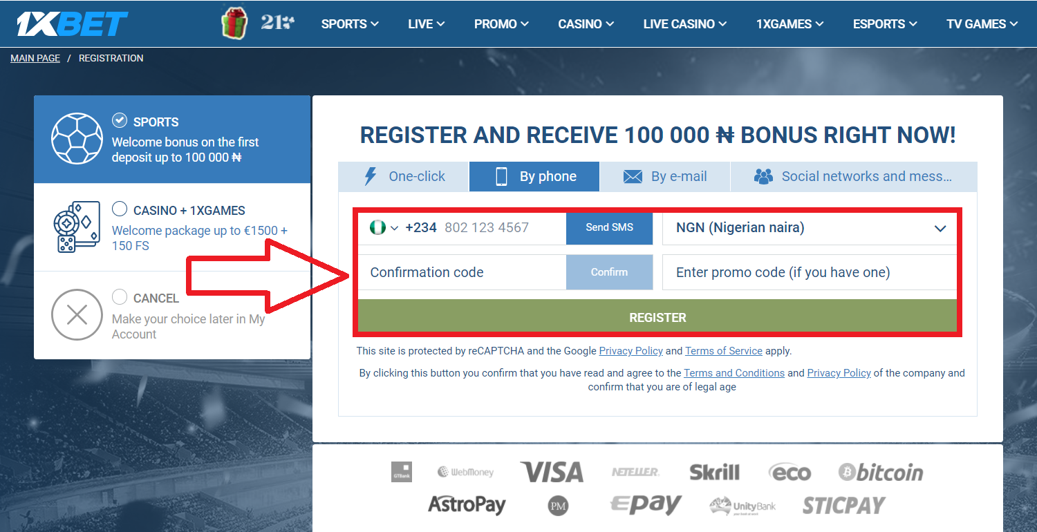 How to bet on 1xBet registration promo